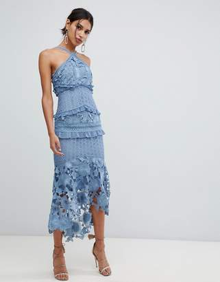 True Decadence sleeveless premium lace midi dress with high low hem in slate blue