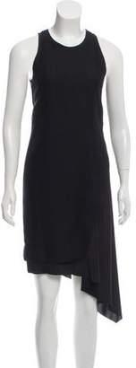 Cédric Charlier Asymmetrical Mesh-Accented Dress