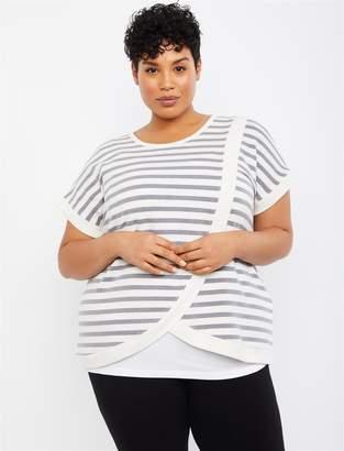 Motherhood Maternity Plus Size Striped Lift Up Drape Front Nursing Top