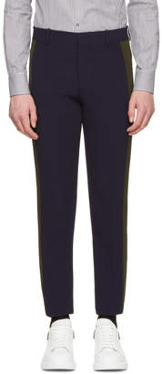 Alexander McQueen Navy and Khaki Single Crepe Trousers