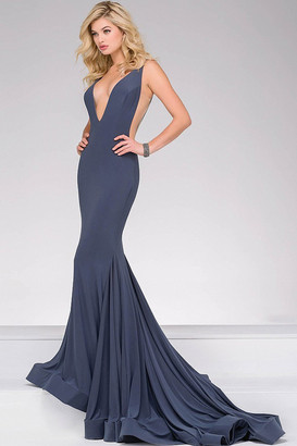 Jovani - V Neckline Long Jersey Prom Dress 46756 $500 thestylecure.com