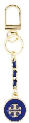 Tory Burch Logo Leather-Trimmed Keychain