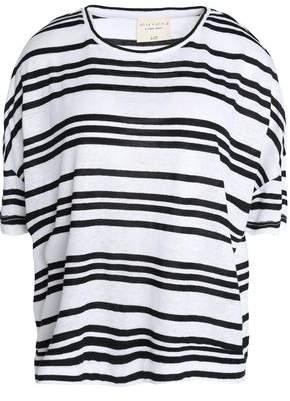 Alice + Olivia Striped Slub Linen-Blend Jersey T-Shirt