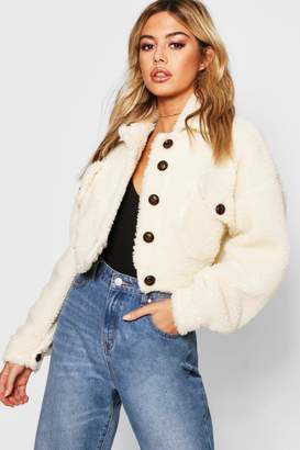 boohoo Petite Cropped Teddy Trucker Jacket