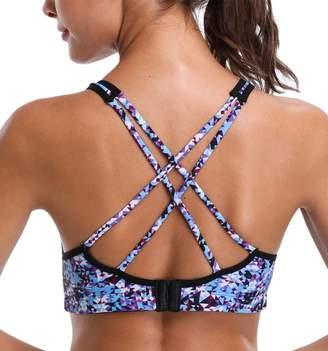 ATTRACO Ladies Strappy Sports Bra Athletic Bra Print Fitness Bra Purple