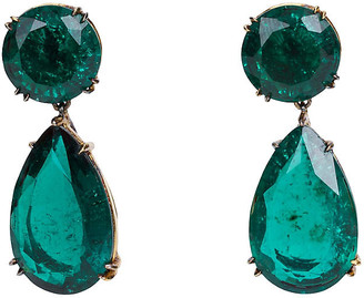One Kings Lane Vintage Gold-Filled Faux-Emerald Earrings - Vintage Lux