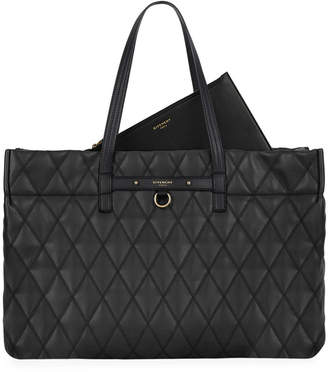 Givenchy Duo Shopper East-West Losange Rubberized Canvas Tote Bag