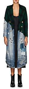 Greg Lauren Women's Denim & Plaid Wool Long Coat - Green
