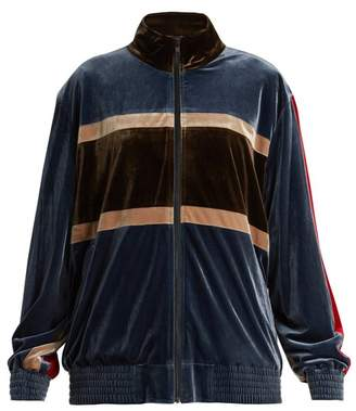 Koché Koche - Contrast Panel Velvet Jacket - Womens - Blue Multi