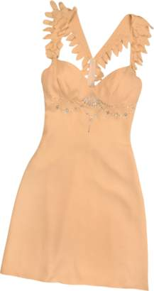 Hafize Ozbudak Peach Crystal Decorated Silk Crepe Dress