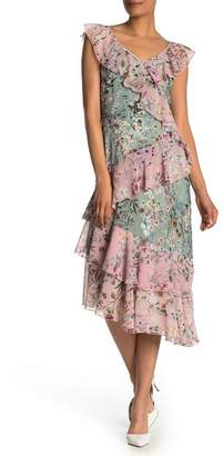 Maggy London Floral Cascading Ruffle Midi Dress