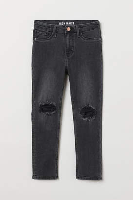 H&M Skinny Fit High Worn Jeans - Black