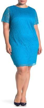 Laundry by Shelli Segal Lace Cap Sleeve Dress (Plus Size)