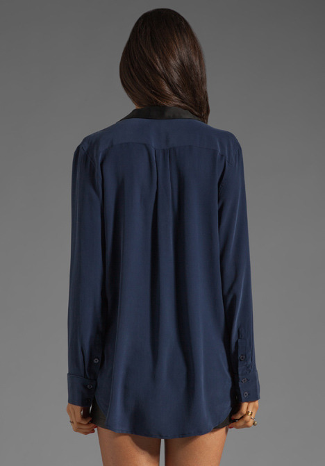 Equipment Keira with Contrast Lapel Blouse