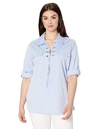 Calvin Klein Women's Plus Size Lace Up Poplin