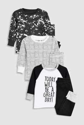 Next Boys Monochrome Slogan Snuggle Fit Pyjamas Three Pack (9mths-8yrs)