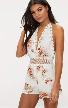 PrettyLittleThing White Floral Crochet Trim Playsuit
