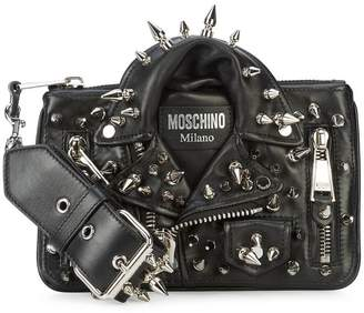 Moschino studded biker jacket wristlet