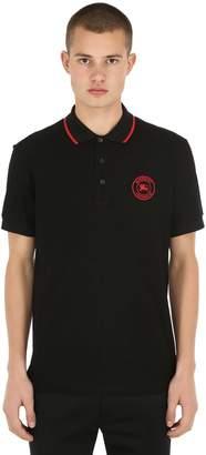 Burberry Logo Detail Cotton Piqué Polo Shirt