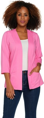 Denim & Co. Essentials Knit 3/4 Sleeve Open Front Jacket