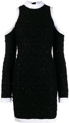 Balmain cold-shoulder boucle knit dress