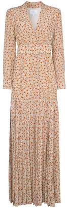 Rebecca De Ravenel daisy print silk maxi dress