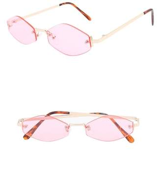Lush NEM Retro 55mm Rimless Geometric Sunglasses