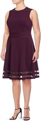 Calvin Klein Sleeveless Mesh Fit-And-Flare Dress