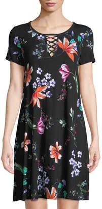 Neiman Marcus Floral-Print Crisscross-Neck T-Shirt Dress