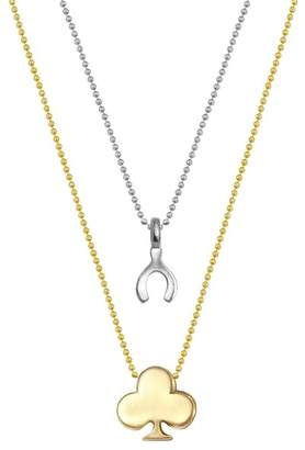 Alex Woo Sterling Silver & 14K Yellow Gold Wishbone & Club Pendant Necklace - Set of 2