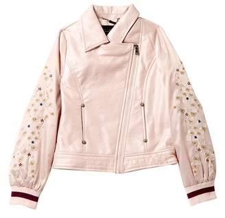Jessica Simpson Faux Leather Satin Sleeves Jacket (Big Girls)