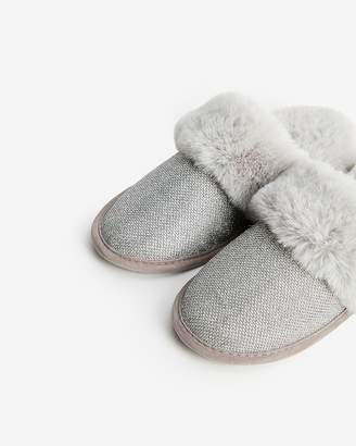 Express Sparkly Faux Fur Slippers