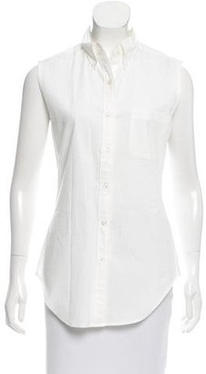 Thom Browne Sleeveless Button-Up Top $125 thestylecure.com
