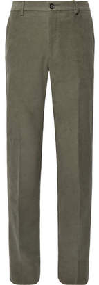 Tod's Green Slim-Fit Cotton-Moleskin Suit Trousers