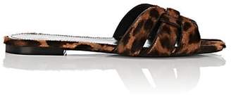 Saint Laurent Women's Nu Pieds Leopard-Print Calf Hair Slide Sandals - Brown