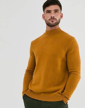 Asos Design DESIGN lambswool turtle neck jumper in mustard