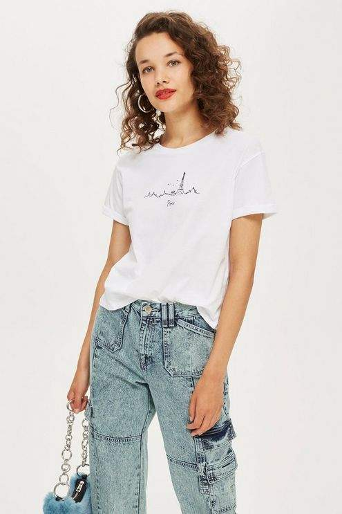 Topshop Womens Paris Skyline T-Shirt