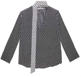 Rixo - Sadie Mini Star Necktie Blouse With Straight Sleeve