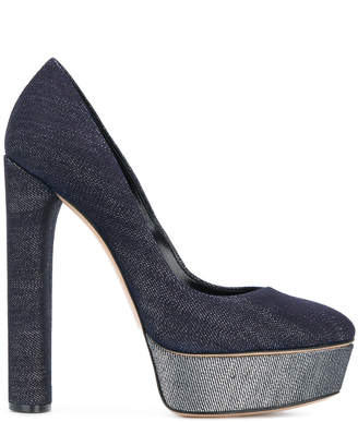 Casadei denim platform pumps