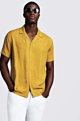 boohoo Polka Dot Short Sleeve Revere Shirt