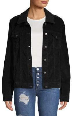 Design Lab Faux Fur-Trim Spread Collar Jacket