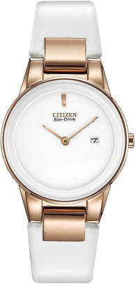 Citizen Eco-Drive Axiom Womens Rose-Tone White Leather Strap Watch GA1053-01A