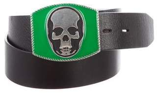 Lucien Pellat-Finet Skull Buckle Leather Belt