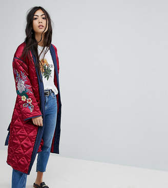 Glamorous Petite Premium Wrap Jacket In Quilted Satin With Floral Embroidery