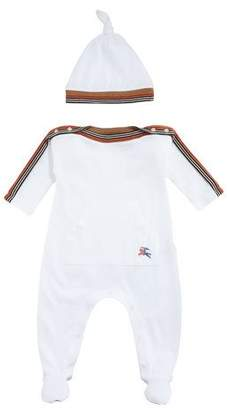 Burberry Abia Striped-Trim Footie Pajamas w/ Hat, Size 1-9 Months