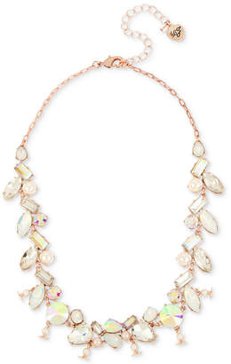 "Betsey Johnson Rose Gold-Tone Crystal & Imitation Pearl Collar Necklace, 16"" + 3"" extender"