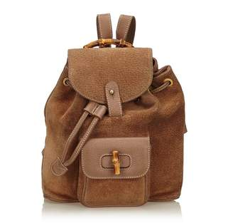 Gucci Vintage Bamboo Suede Drawstring Backpack
