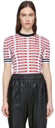 MSGM White All Over Logo Sweater