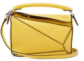 Loewe Puzzle Mini Leather Cross Body Bag - Womens - Yellow