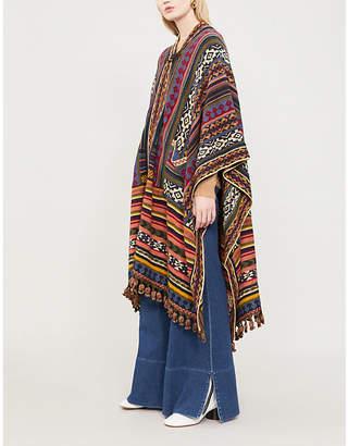 Etro Geometric-pattern wool-blend cape